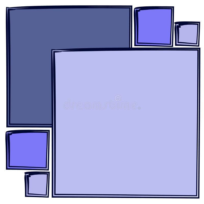 抽象蓝色模式正方形 库存例证