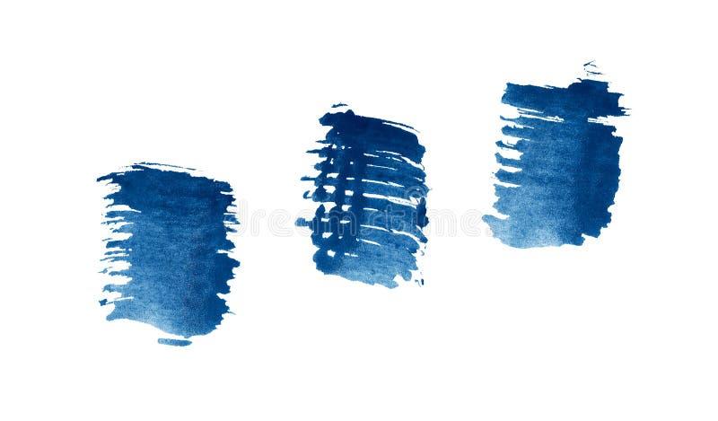抽象蓝色水彩背景 五颜六色的水彩画油漆纹理 在白色隔绝的刷子冲程 皇族释放例证