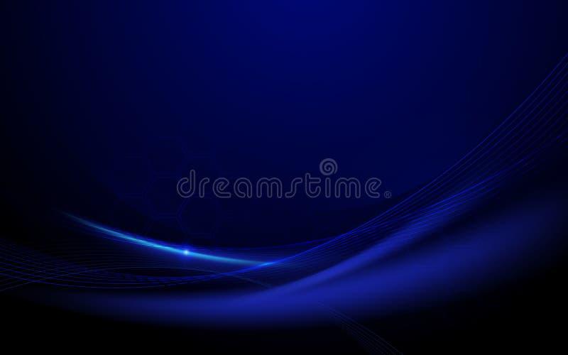 抽象蓝色波浪与光弯曲的线 技术概念背景背景 皇族释放例证