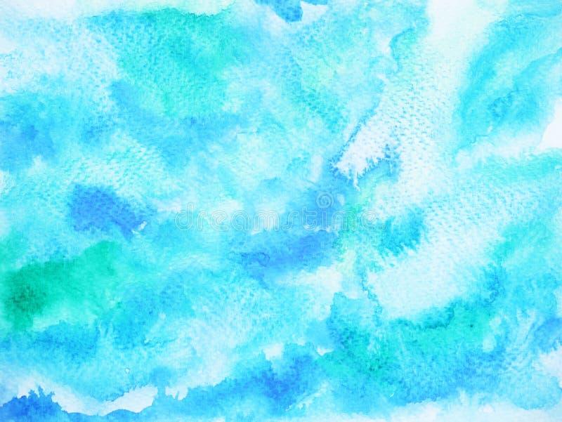 抽象蓝色波浪海海洋背景,天空水彩绘画 向量例证