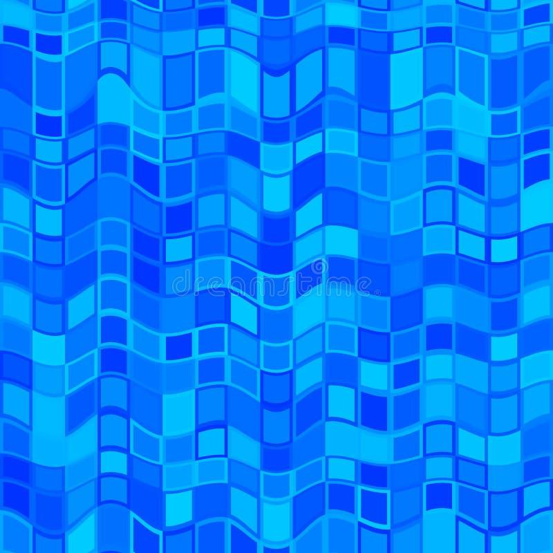 抽象蓝色波浪瓦片样式 深蓝波浪铺磁砖了纹理背景 简单的绿松石被检查的无缝的例证 向量例证