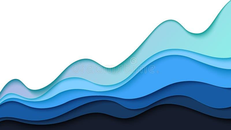 抽象蓝色波浪纸削减了层数背景模板 库存例证