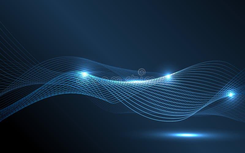 抽象蓝色波浪-数据流概念 也corel凹道例证向量 皇族释放例证