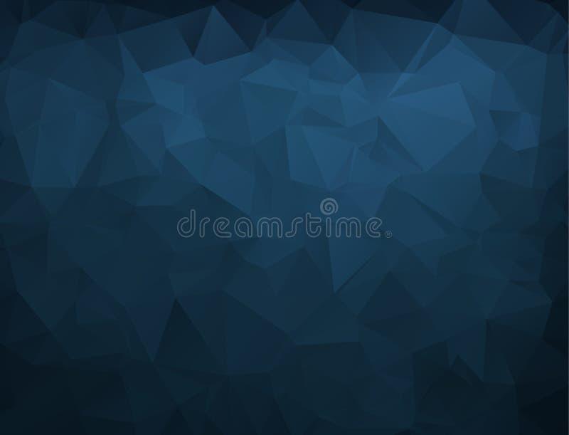 抽象蓝色海军黑暗的多角形马赛克背景,传染媒介 例证,创造性的业务设计模板 库存例证