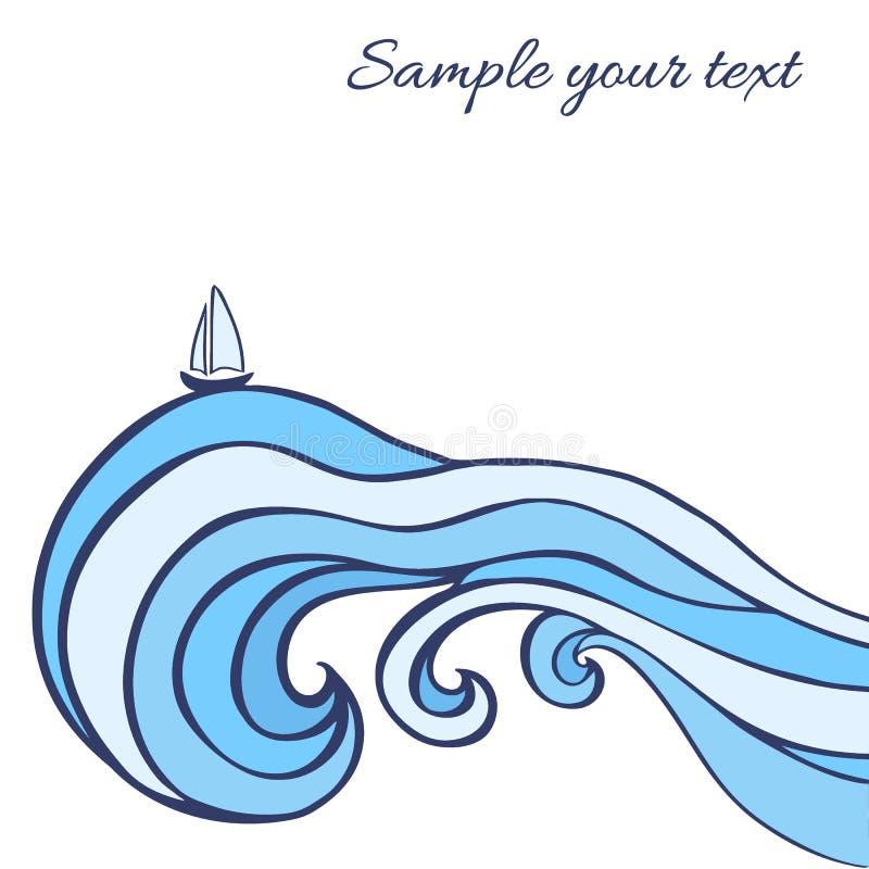 抽象蓝色海挥动与在白色背景隔绝的风船,向量图形例证,装饰框架 向量例证