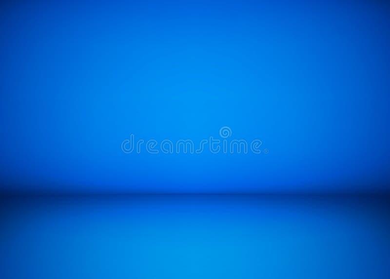 抽象蓝色演播室车间背景 室内部、地板和墙壁模板  摄影车间空间 向量 库存例证