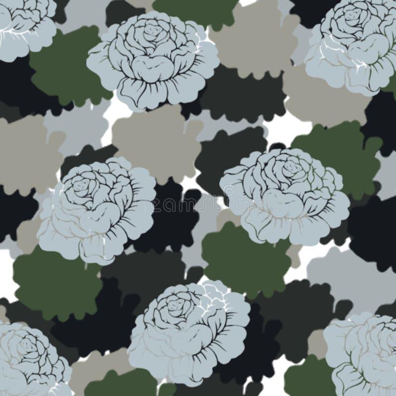 抽象蓝色玫瑰样式 向量例证