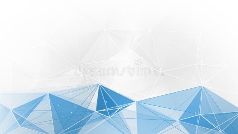 抽象蓝色白色几何网背景 向量例证