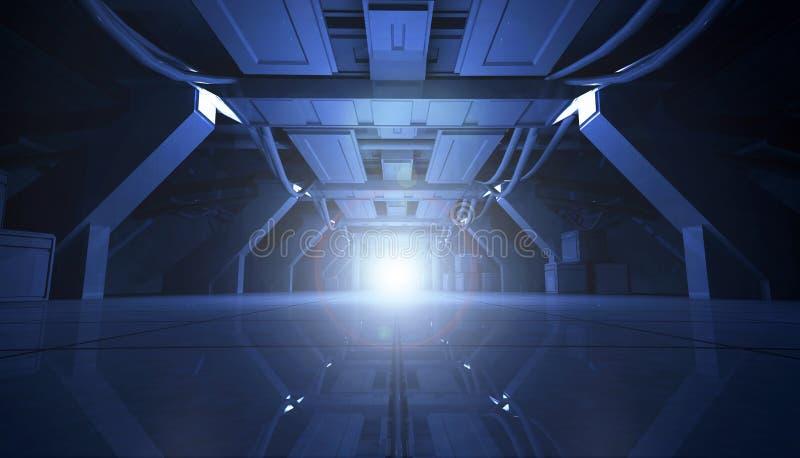 抽象蓝色科学幻想小说未来派室内设计走廊 3d翻译 向量例证