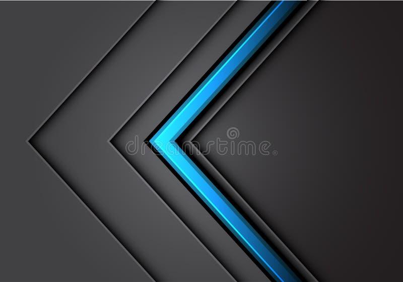 抽象蓝色箭头线与黑暗的空白设计现代豪华未来派的浅灰色的金属方向交叠 向量例证