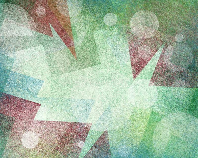 抽象蓝色红色和绿色背景设计与现代艺术几何形状和三角样式层数与纹理 皇族释放例证