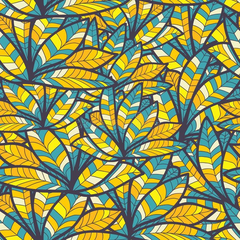 抽象蓝色羽毛。明亮的无缝的纹理 库存例证