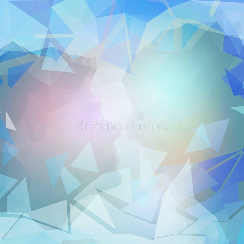 抽象蓝色背景,三角设计传染媒介 库存例证