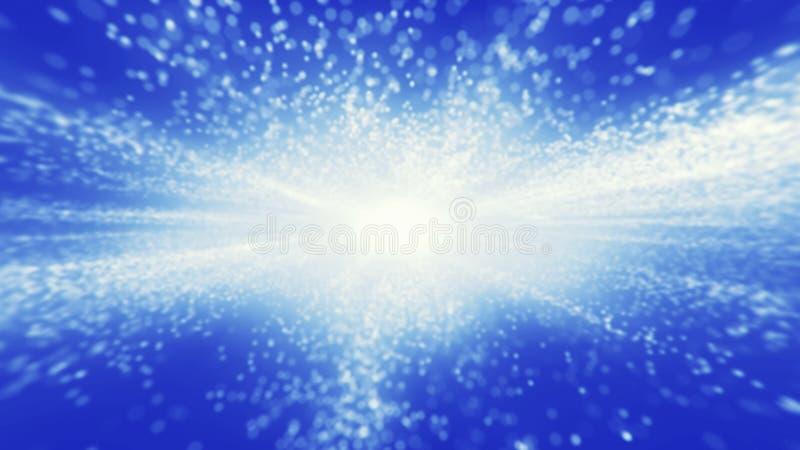 抽象蓝色背景 在软的bokeh背景的明亮的光 皇族释放例证