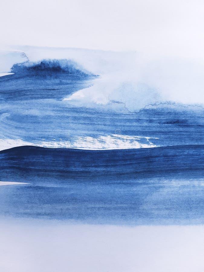 抽象蓝色艺术绘的背景 免版税库存图片