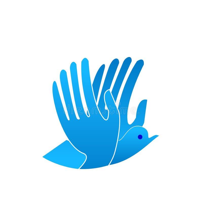 抽象蓝色鸟用作为翼的手,象传染媒介 向量例证