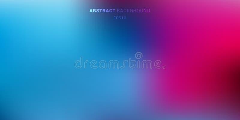 抽象蓝色,紫色,桃红色充满活力的颜色被弄脏的背景 点燃与地方的梯度背景的软的黑暗文本的 库存例证