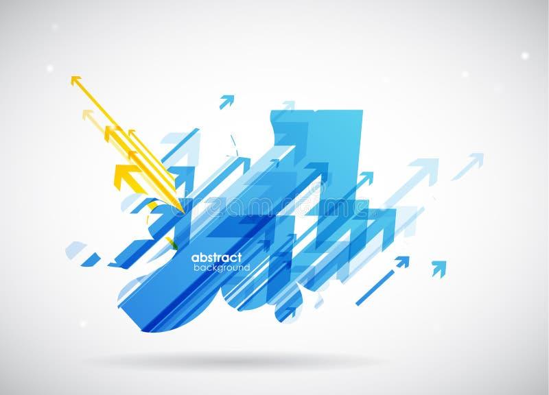 抽象蓝色,黄色箭头背景墙纸 皇族释放例证