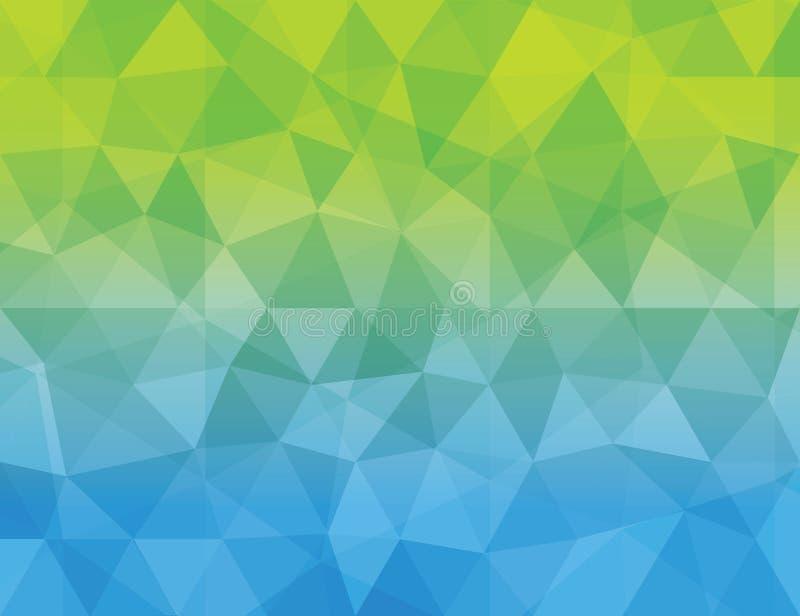 抽象蓝色&绿色多角形几何ba 皇族释放例证