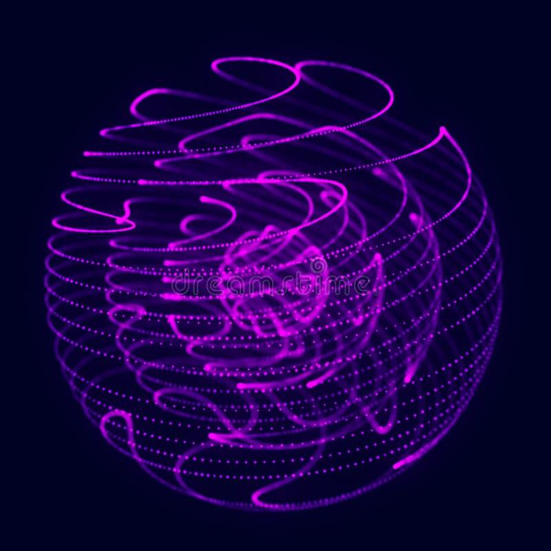 抽象蓝色3d球形 与转弯线的球形 发光的线扭转 r r 未来派技术 免版税图库摄影