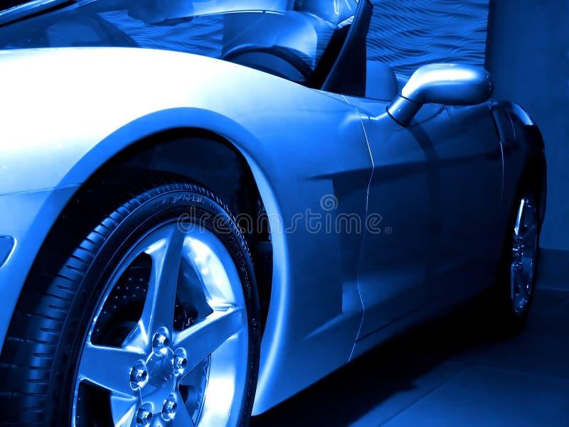 抽象蓝色sportscar 免版税库存照片