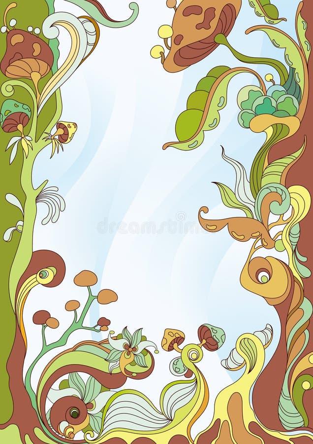 抽象蘑菇框架背景 库存例证