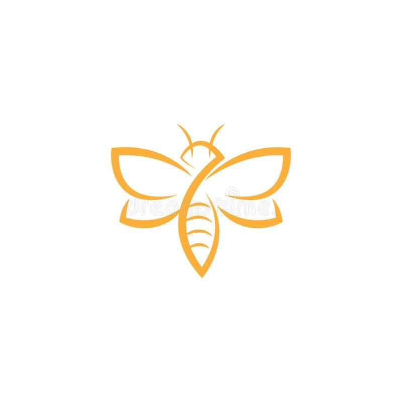 抽象蜂商标设计传染媒介模板 概述象,创造性的蜂商标概念,传染媒介商标例证 皇族释放例证