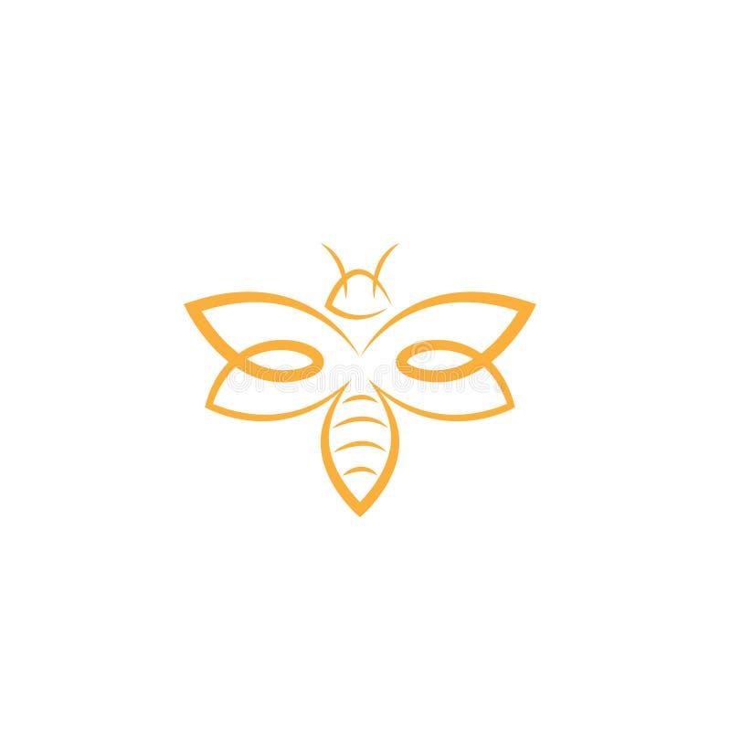 抽象蜂商标设计传染媒介模板 概述象,创造性的蜂商标概念,传染媒介商标例证 库存例证