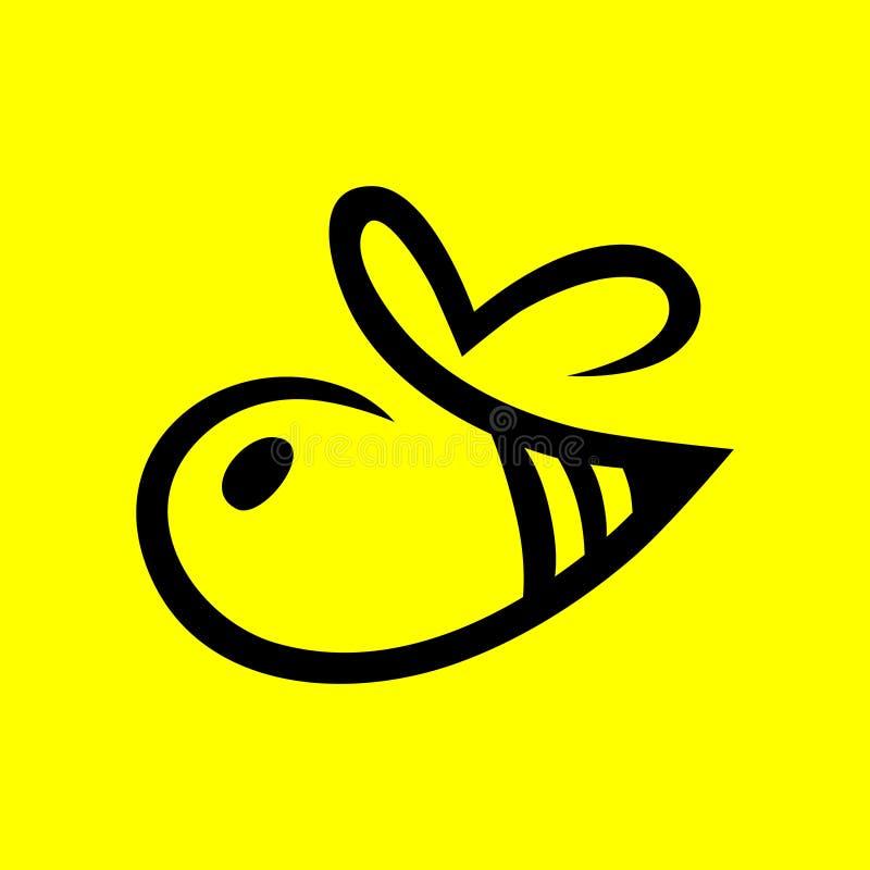 抽象蜂标志,在黄色的象 皇族释放例证