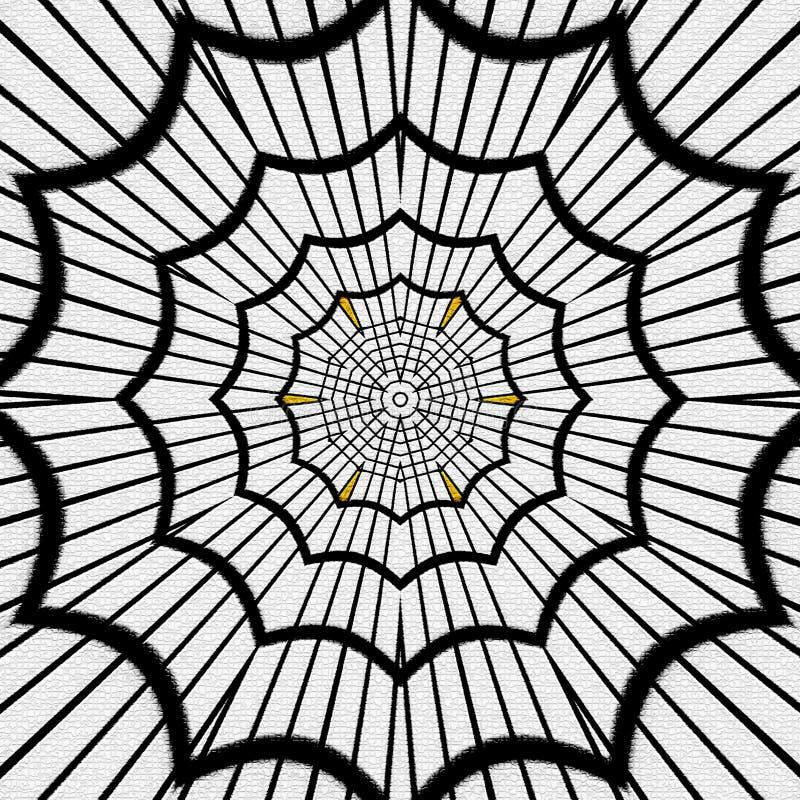 抽象蜘蛛网,黑在白色背景,作用映象点 向量例证