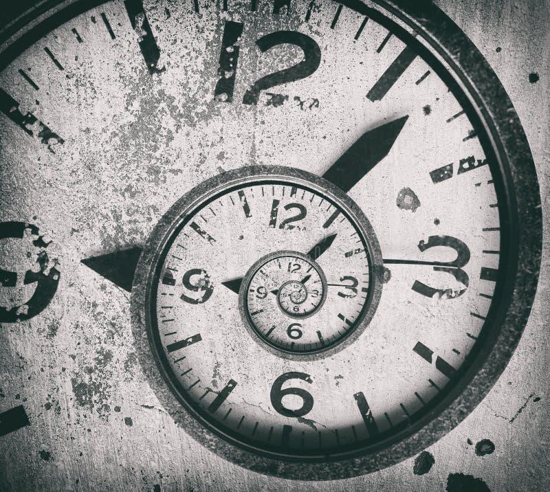抽象螺旋时钟背景 时间扭转了 免版税库存照片