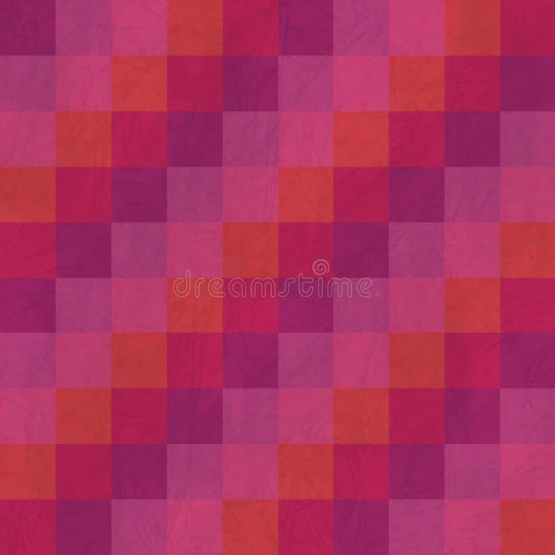 抽象补缀品镶边无缝的样式 红色和玫瑰色配色 库存例证