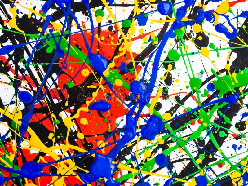 抽象表现主义艺术创造性的背景 艺术飞溅并且滴下 在白色背景的红色黑绿色黄色蓝色油漆 库存照片