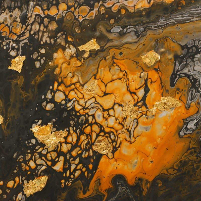抽象被作成大理石状的作用背景摄影  黄色和黑创造性的颜色 r 免版税库存图片