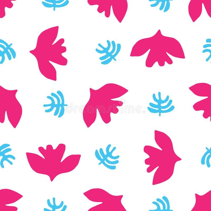 抽象被删去的鸟叶子形状 传染媒介样式无缝的背景 向量例证