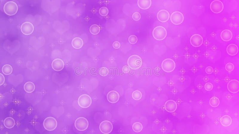 抽象被弄脏的心脏、闪闪发光和泡影在紫色和紫罗兰色背景中 向量例证
