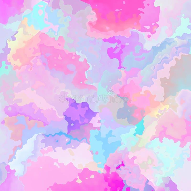 抽象被弄脏的方形的背景逗人喜爱的淡色浅粉红色蓝色橙黄颜色-现代绘画艺术- 皇族释放例证