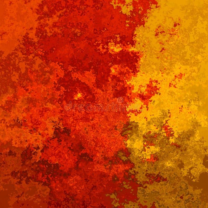 抽象被弄脏的样式方形的背景充满活力的辣椒橙红和黄色颜色-现代绘画艺术- 库存例证