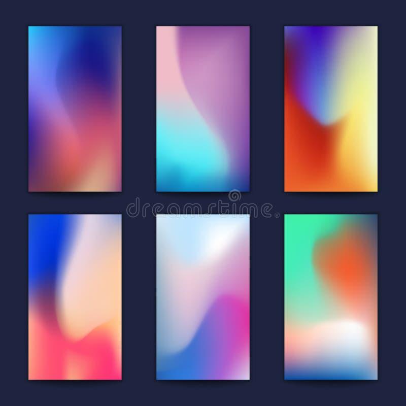 抽象被设置的流体3d形状传染媒介时髦液体颜色背景 皇族释放例证