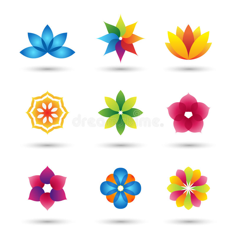 抽象被设置的花商标和象 库存例证