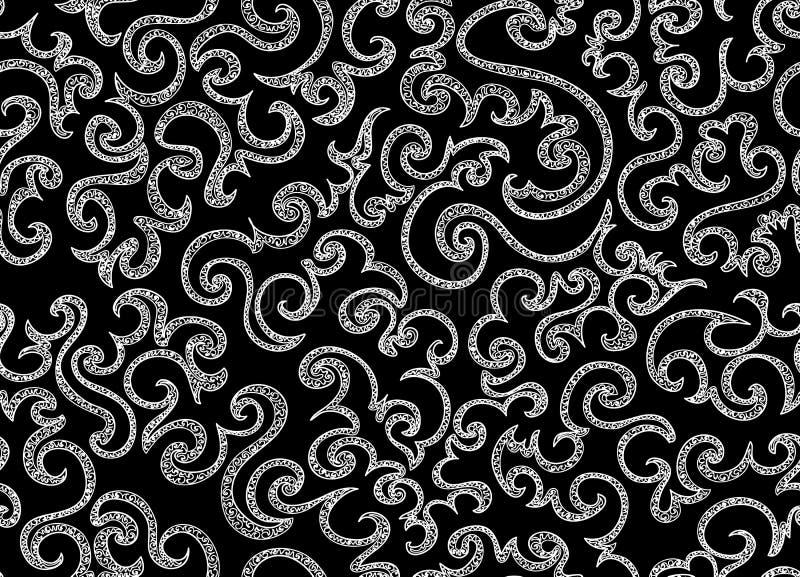 抽象装饰与卷曲的传染媒介无缝的样式排行 不尽的纹理 皇族释放例证