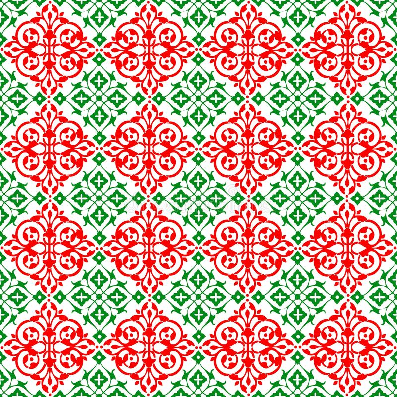 抽象装饰东方红色绿色美好的皇家葡萄酒春天花卉无缝的样式纹理墙纸 皇族释放例证