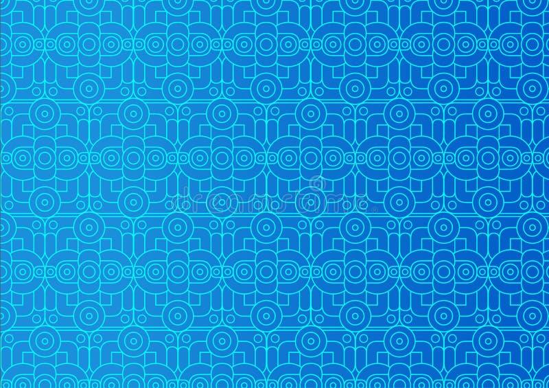 抽象装饰品 与样式的蓝色背景 向量例证