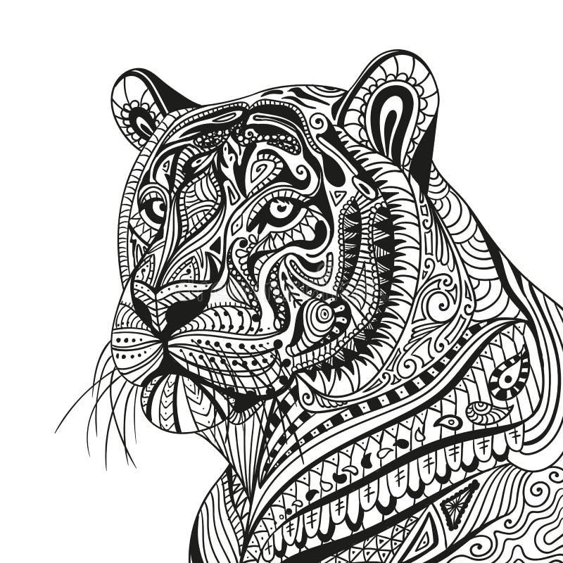 抽象装饰老虎 皇族释放例证