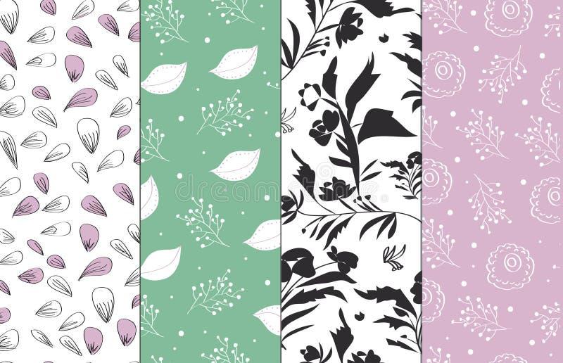 抽象装饰自然样式集合 手拉的线性和剪影花,分支,叶子纹理 库存例证