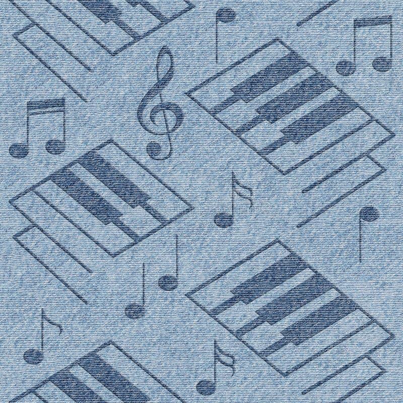 抽象装饰钢琴钥匙-蓝色牛仔裤纹理 向量例证