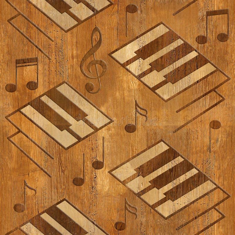 抽象装饰钢琴锁上-木纹理-无缝的backgro 皇族释放例证