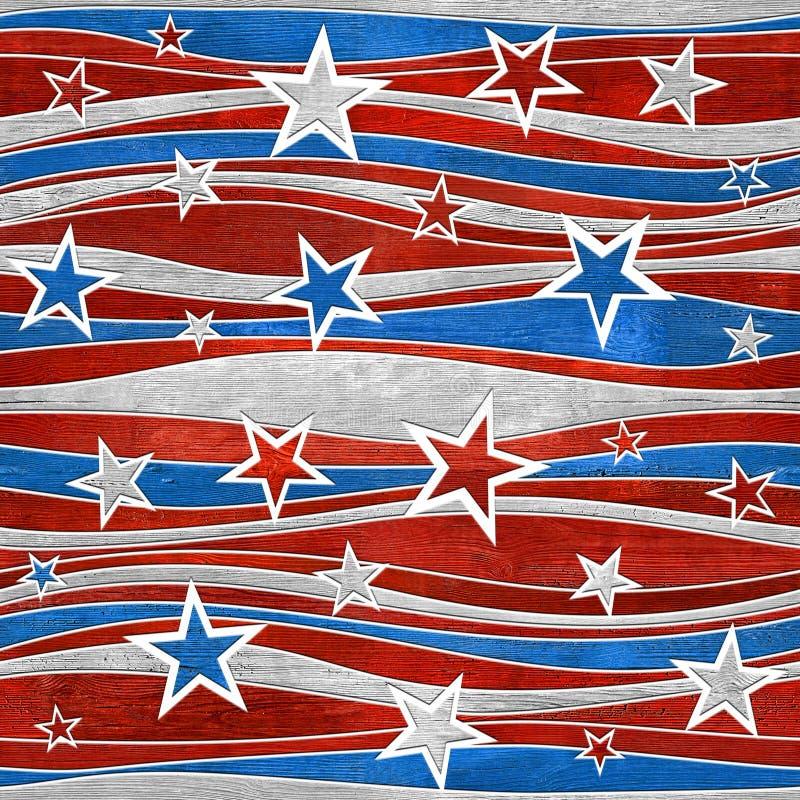 抽象装饰铣板-星无缝的样式-美国颜色 库存例证