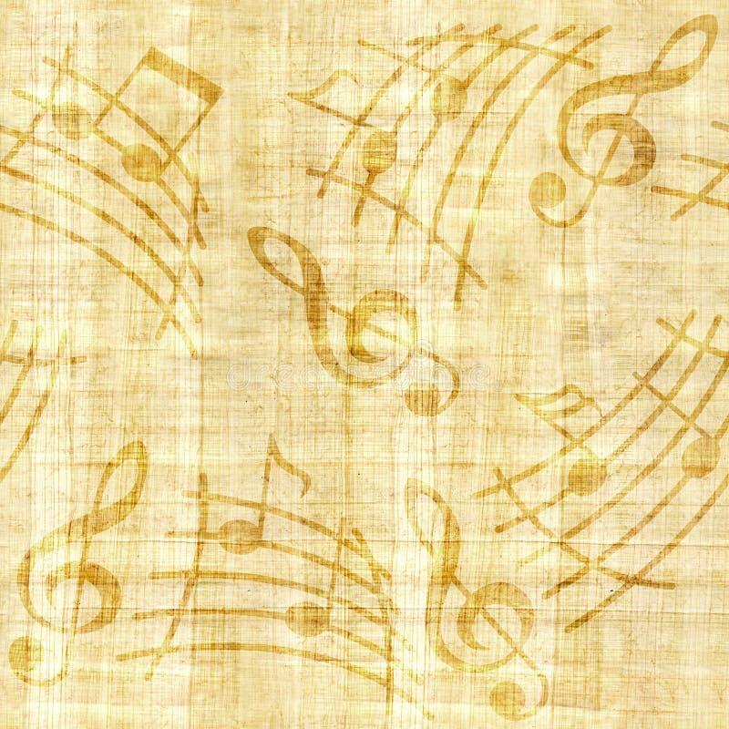 抽象装饰音乐注意-纸莎草纹理-无缝的背景 向量例证
