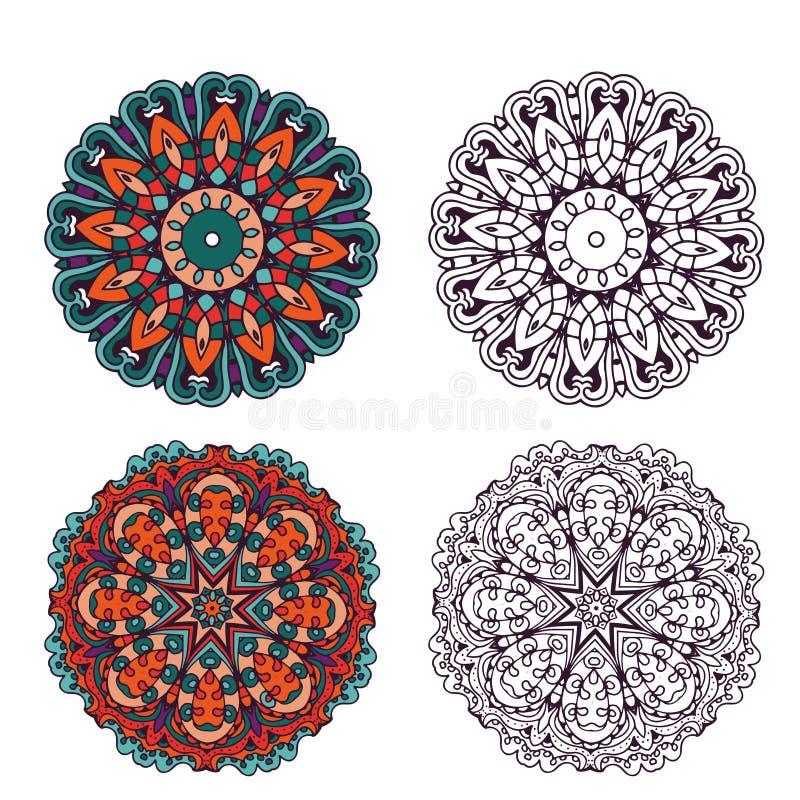 抽象设计元素集 在传染媒介的圆的坛场 皇族释放例证